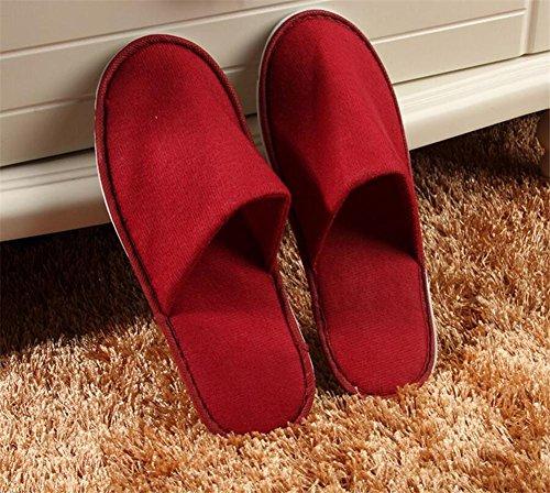pantofole Pantofole monouso ispessimento antiscivolo tirare peluche pantofole ospitalità stella albergo hotel pantofole 10 coppie , red red