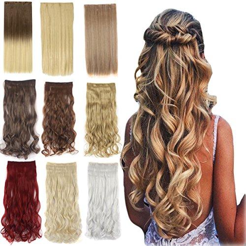 Bubikopf 1 Sack 3/4 Kopf Lockig Wellenförmig Klipps Synthetisch Haarverlängerung Haarteil für Frauen 5 Klipps