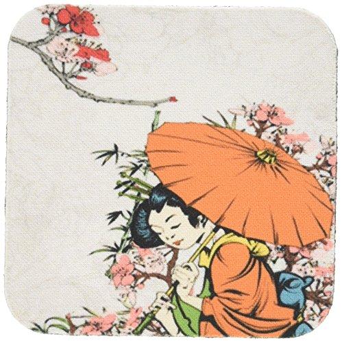 3dRose Dooni Designs Oriental, Designs Inspiriert–Lovely Japanische Geisha mit Regenschirm und Sakura Cherry Blossom Blumen Asian Oriental Illustration–Untersetzer, Gummi, set-of-8-Soft