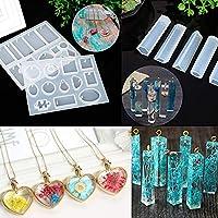 HOTEU Moldes de resina de silicona para hacer joyas, moldes epoxi, 68 piezas de moldes de agujeros para colgar, para manualidades de resina as pictures blanco