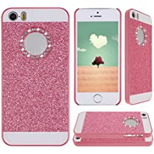 iPhone 5 5s,iPhone 5c Tapa,Asnlove Carcasas y funda policardonato dura brillo case diseño bling brillante tapa trasera para Apple iPhone 5C/5S/5G-Rosa