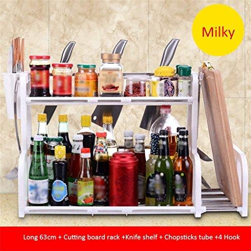 VIOY Regal-Organisator-Behälter-Regal-Teiler für Schränke Lagerregal-Aufbewahrungsbehälter-Küchen-Zahnstangen Boden-Gewürz-Fach-Messer liefert Geräte Multifunktions-Plastikregal-Edelstahl,N8