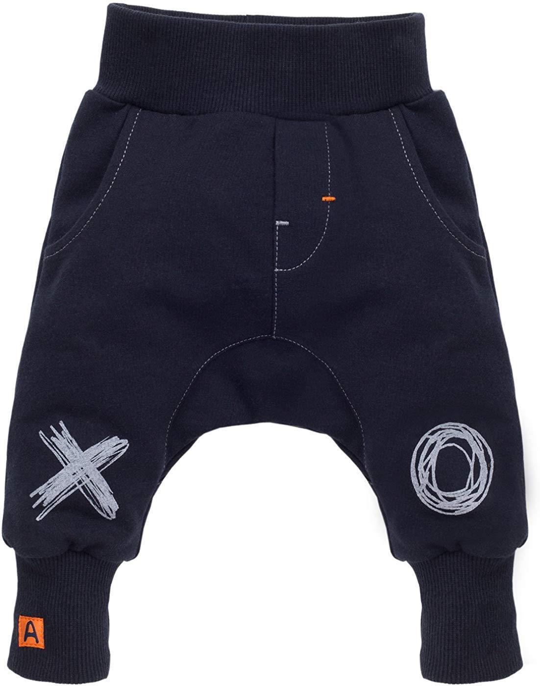 Pinokio - Xavier - Pantalones de bebé 100% algodón Azul Oscuro y Negro Pantalones de chándal Pantalones Harem… 1