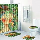 SLGJYY Painted Duschvorhang Matte Kombination Vierteiligen Anzug Bad WC Teppich Duschraum Matte Matte Grün