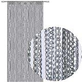 Fadengardine Türvorhang Fadenvorhang Metallikoptik mit Stangendurchzug, trendig schön in vielen verschiedenen Farben erhältlich (90x200 cm / grau - dunkelgrau)