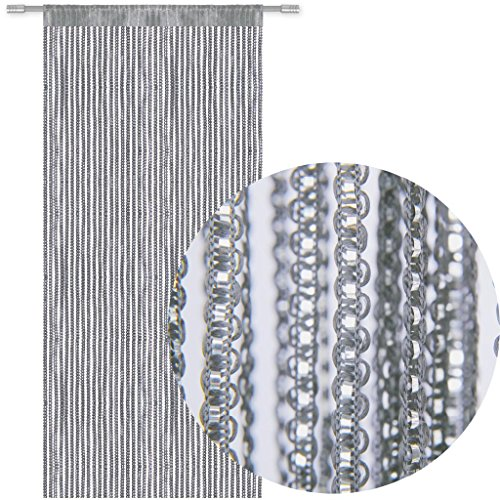 Bestlivings Fadengardine Türvorhang Fadenvorhang Metallikoptik mit Stangendurchzug, trendig schön in vielen erhältlich (90x250 cm/grau - dunkelgrau)