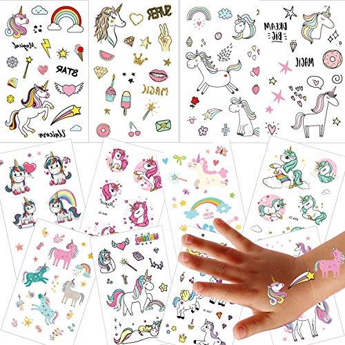 12 Blatt Einhorn Kinder Tattoos, Ouinne Temporäre Tattoos Sticker Aufkleber Geschenke für Mädchen Kindergeburtstag Party Wasserdicht (Einhorn Kostüm Accessoires)