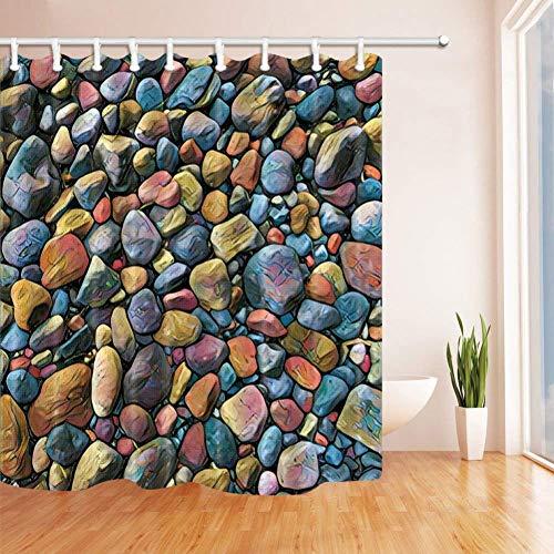 WZYMNYL Pila de Piedra de la Playa Cortina de baño Tela de poliéster Impermeable Cortinas de Ducha Cortina de Ducha Ganchos incluidos Amarillo Azul,183Wx198H CM