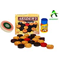 ARSDEWY Wooden Carrom Coins (24 Carrom Coins with 1 Striker & 1 Powder)