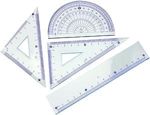 Set di Righello [4PCS],Vococal® Strumento di Geometria Matematica,Set da Disegno con 2 Righelli a Triangolo, 2 Righelli Dritto e Goniometro