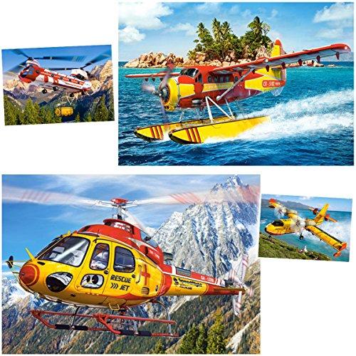 alles-meine GmbH 2 Stück _ Minipuzzle - 54 Teile -  Flugzeug / Helikopter / Hubschrauber  - inkl. Name - für Kinder & Erwachsene - Kinderpuzzle - Preis / Gewinn - Minipuzzl..