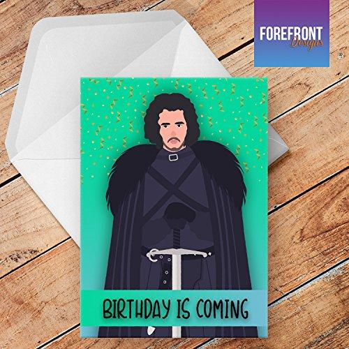 Tarjeta de felicitación de cumpleaños personalizada con texto en inglés Jon Snow para cualquier ocasión o evento, cumpleaños, Navidad, boda, aniversario, compromiso, día del padre/día de la madre