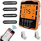 Rilitor Braadthermometer, digitale grillthermometer met 4 sondes, draadloze oventhermometer, keukenwekker, vleesthermometer v