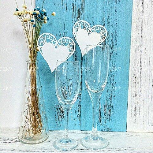 BeautylifeⓇ 50 x bianco cuore segna posto segnaposto segnatavolo segnabicchiere bomboniera per matrimonio compleanno nascita battesimo comunione natale segnaposti segna bicchiere