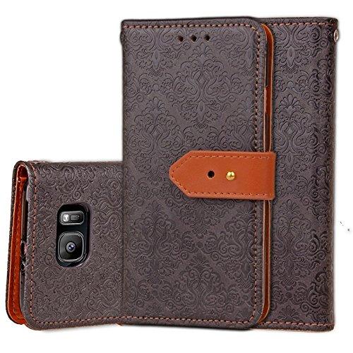 YHUISEN Galaxy S7 Case, Magnetverschluss European Style Wandgemälde Prägeartig PU Leder Flip Wallet Case Mit Stand Und Card Slot Für Samsung Galaxy S7 ( Color : Gray ) Black