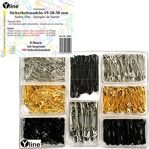 500 Epingles à nourrice - Assortiment Noir, Or, de sécurité aiguille aiguilles, 3042 & silbefarben, 19-28-38 mm