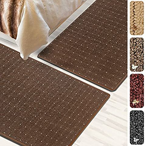 Bettumrandung Rapido | verschiedene Bettvorleger Sets | 3 teilig für Schlafzimmer mit Läufer und Brücken | Bett Teppiche mit GUT Siegel | mit Punkt Muster | verschiedene Größen (Braun, SET 1: 1 mal 67x250 cm und 2 mal 67x140 (3-teiliges Set Bett)