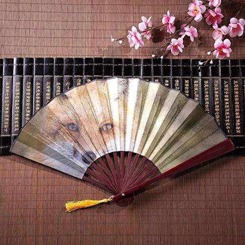 Kung Fu Fan Rotfuchs Vulpes Vulpes Sitzen Aufmerksamkeit Mit Bambusrahmen Quaste Anhänger Und Stoffbeutel Kinder Hand Fan Fans Chinesischer Fan Japanisch ()