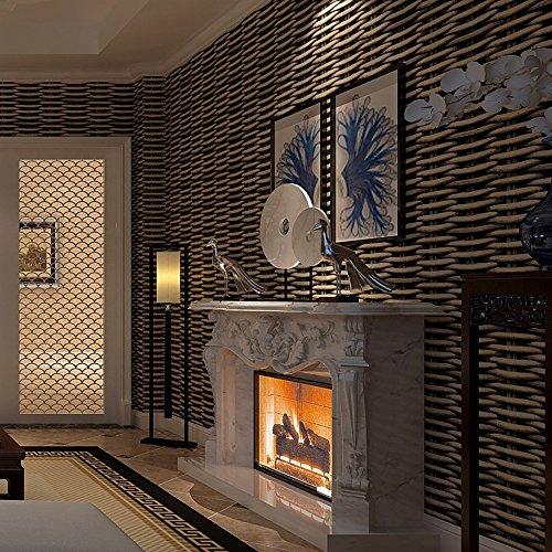 3D wallpaper chinesischen Stil Retro-Simulation Stroh Rattan gestreifte Tapete Bambus Hintergrund Wand Restaurant Buy drei Get One Free