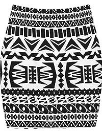WearAll - Imprimé extensible elastiqué jersey court mini-jupe moulant - Jupes - Femmes - Tailles 36 à 42