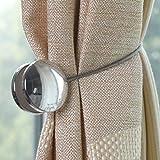 YNuth 2X Magnet Vorhang Raffhalter Clips Rund Silber Legierung Zimmer Dekoration