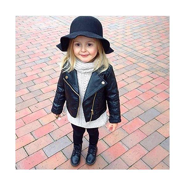JiaMeng Ropa de Chaqueta Corta de Abrigo de Cuero para niños bebé Outwear de Viento de Imitación de Piel 2