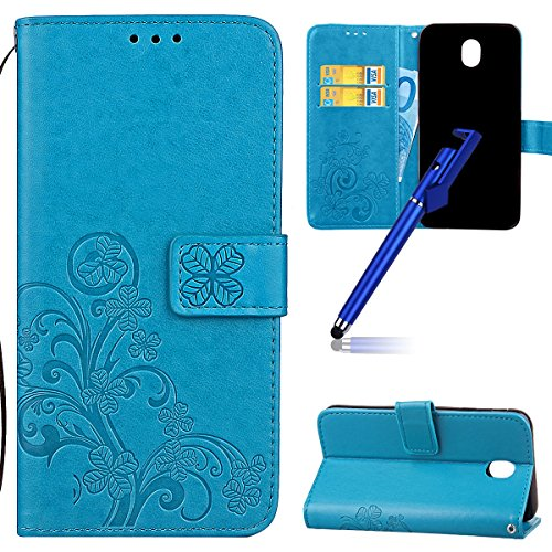 Custodia per Samsung J5 2017 (Versione europea), Galaxy J5 2017 (Versione europea) Cover a libro, iphone X Cover Flip, MoreChioce Lusso Bookstyle Flip PU Pelle Cover Moda Design Modello Gatti e alberi Lucky Clover-Blu