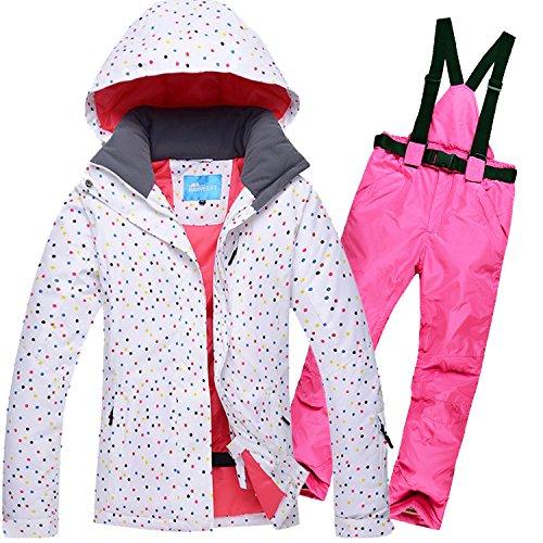 HUA&X Frauen Mantel ski Jacke hose Anzug wasserdichte Regenjacke warme zipper Hosen verdickt, S, Rosa
