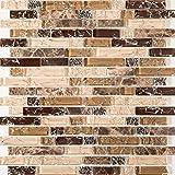 Gebrochen Glas und Marmor Naturstein Mosaik Fliesen Matte in Braun und weiß mit Ziegelstein Optik (MT0154)