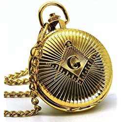 Personalised Gold Plated Masonic G Pocket Watch With Gift Box, Engraved Gift