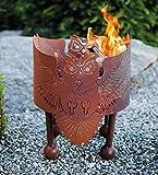 Ferrum Feuerschale Eulentanz Eule H:40cm x D:40cm Feuerstelle Lagerfeuer Flammenkorb Edelrost Deko