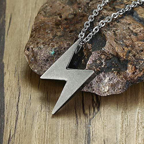Männer Silber Grau Lightning Anhänger Halskette Edelstahl Bolt Thunder Flash Charme Männlichen Schmuck 20-24 Zoll