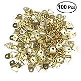 WINOMO - 50x anelli triangolari per appendere immagini, anelli D-ring a montaggio monoforo, supporti per cornici, M2 x 6 viti