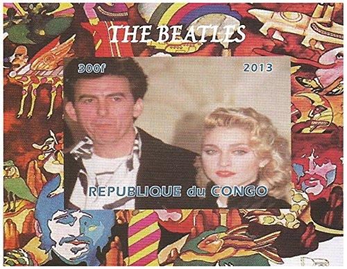 La collezione Beatles - foglio imperforate timbro con George Harrison e Madonna - condizione superba e non incernierato - 2013 / Congo / 300F