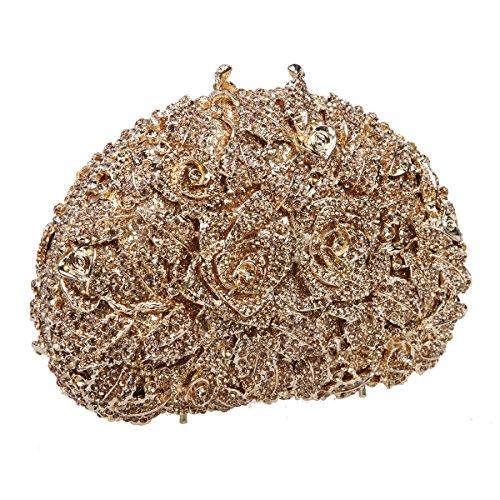Bonjanvye Glitter Studded Rhinestone Rose Clutch Purse for Wedding Party Silver Smoky yellow