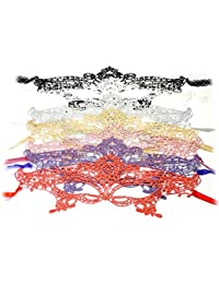 PRESKIN - Ensemble de 7 masques de dentelle pour le carnaval, la séduction vénitienne pour le carnaval, masques sexy pour le déguisement et le Parti, fifty shades of grey