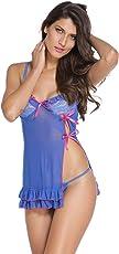 Honeymoon Lingerie for Women/Ladies and Girls Nightwear Premium Babydoll Dress Sleepwear in Blue Colour in Fancy Gift Packing
