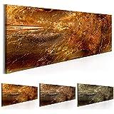Bilder 135x45 cm - 3 Farben zur Auswahl - XXL Format - Fertig Aufgespannt - TOP - Vlies Leinwand - 1 Teilig - Wand Bild - Kunstdruck - Wandbild - Textur Gold Steine Abstrakt f-A-0467-b-b 135x45 cm B&D XXL