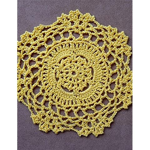 FPP 12pcs/set, cotone giallo Handmade Crochet Doilies Coaster , round-holiday