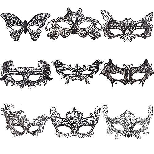 9 Stück Maskerade Maske Sexy Spitze Augenmaske,Für Ihre Maskerade, Geburtstagsparty, Weihnachten, Halloween, Dress-up, (Kostüm Malen Gesicht Spinne)