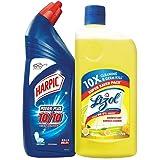 Lizol Disinfectant Surface & Floor Cleaner, Citrus - 975 ml + Harpic Powerplus Disinfectant Toilet Cleaner, Original - 1…