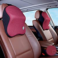2 Stück Schwarz Farbe Echtleder Autositz Nackenkissen Auto Kopfstütze Für Mazda