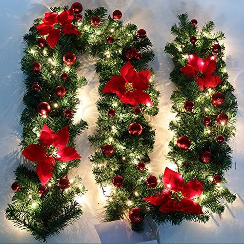 Nulala - Guirnalda decorativa para árbol de Navidad 2,7 m, diseño de guirnalda decorada con luces...