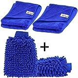 EVELTEK (2 pezzi) Auto Wash Mitt e(2 pezzi) Panno Microfibra , Autolavaggio Guanto Pulizia Lavare Guanti con Auto per pulizia lucidatura asciugamano(Blu) (40x60cm)