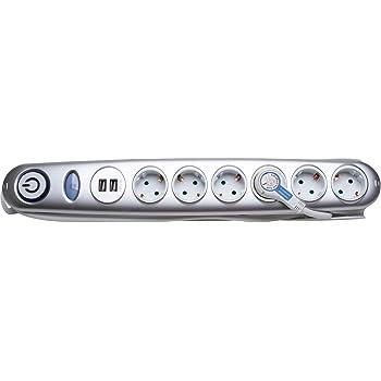 Electraline 35619Steckdosenleiste mit 5Steckdosen und 2USB und Schalter De...