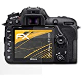 atFoliX Panzerfolie kompatibel mit Nikon D7500 Schutzfolie, entspiegelnde und stoßdämpfende FX Folie (3er Set)