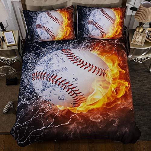 Wifehelper 3 Stücke Baseball Druck 100% Polyester Bettbezug Weiche Bettwäsche Set Blatt Kissenbezüge Hause Schlafzimmer Liefert (Full) -