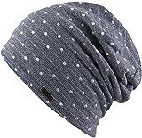 Feinzwirn Florence - leichte Beanie Mütze für Damen und Herren - Slouch (blaugrau-Punkt)