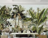 LHDLily 3D Papier peint Wallpaper Fresque Mural Peinture À L'Huile Végétale De La Forêt Tropicale Fond Papier Peint Salon Chambre À Coucher Est Pleurnicher Murale Fond Papier Peint 3D 200cmX150cm