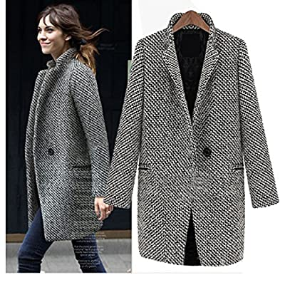 Nonbrand Womens Winter Wool Trench Coat Ladies Outerwear Vintage Overcoat Long Jacket